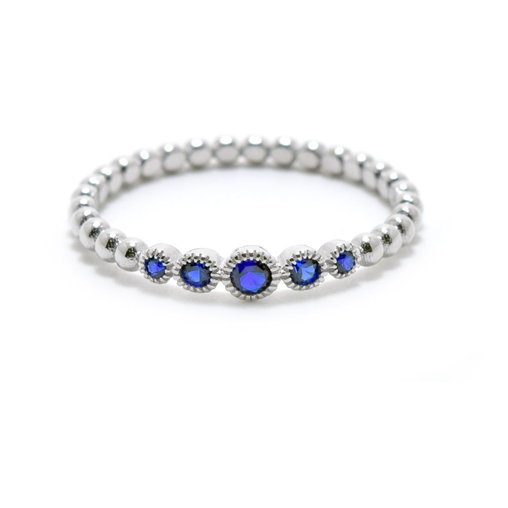 .925 Sterling Silver Beaded Style September Birthstone Cz Stackable Ring