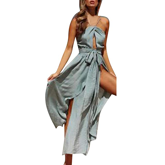 Huazi2 Womens Summer Casual Loose Sleeveless Solid Beach Style Mini Tank Dress
