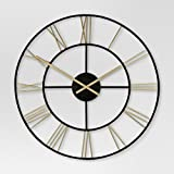 Threshold Decorative Wall Clock – Gold/Black For Sale