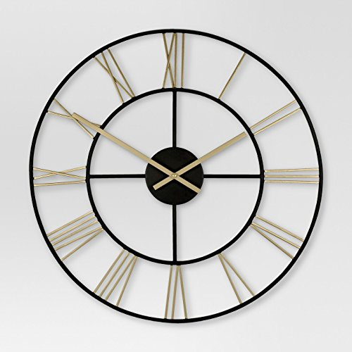 Threshold Decorative Wall Clock - Gold/Black