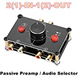 Nobsound Little Bear MC1022 Mini 2(1)-IN-1(2)-OUT RCA Stereo Audio Switch Audio Switcher Passive Speaker Manual Selector Splitter Box Audio Sharing (Black (RCA Version))