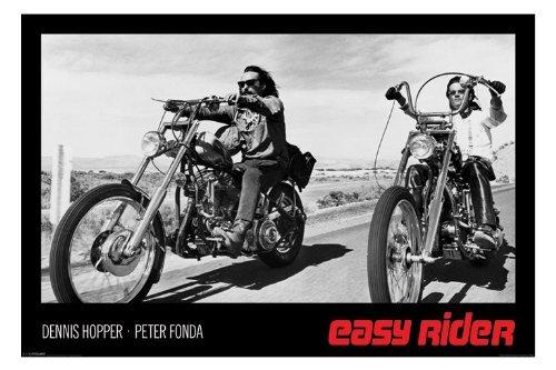 (24x36) Easy Rider Movie (Dennis Hopper & Peter Fonda on Motorcycles, Black) Poster Print