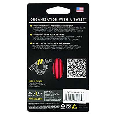 Nite Ize GT3-4PK-10 Gear Reusable Rubber Twist Tie, 3