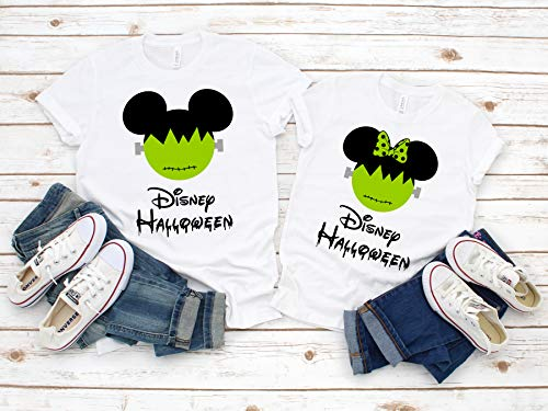 Disney Halloween T-Shirts Matching Vacation Apparel Shirts for Family Men Women Boys Girls Baby Frankenstein Mickey Minnie Ears Not So Scary -