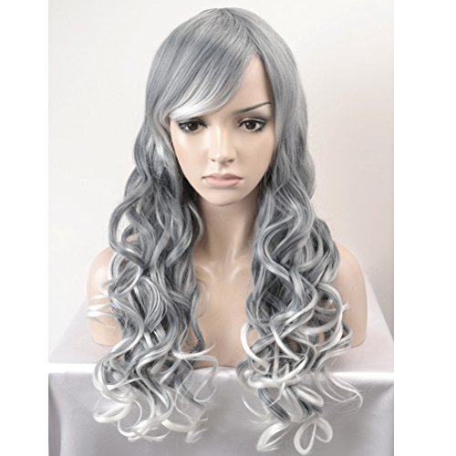 Dress Up Wig (RightOn Long Curly Mix Color Wigs Grey to White Costume Party Dress Up Wigs for Women Girls)
