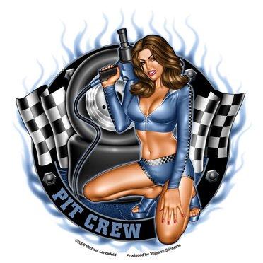 Michael Landefeld - Pit Crew Pin-up Girl - Sticker / Decal
