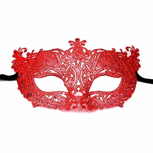 [MMRM Halloween Shiny Eye Mask Glittery Powder Masquerade Ball Party Prop(Red)] (Red Masquerade Mask)