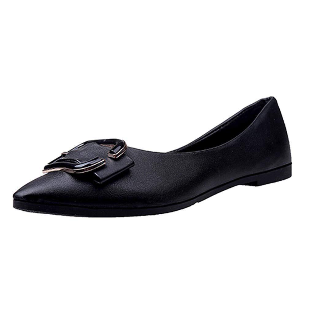 de6e3694f3a5f Amazon.com: AliveGOT Womens Classic Faux Leather Pointy Toe Ballet ...