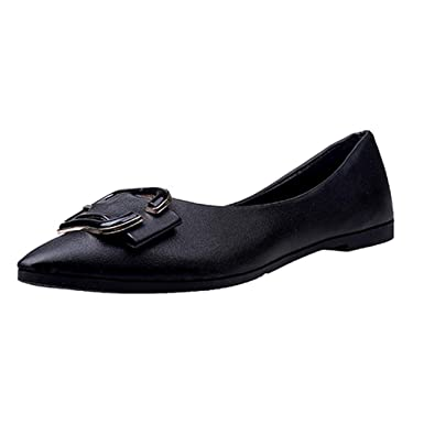 3297f534bffa AliveGOT Womens Classic Faux Leather Pointy Toe Ballet Flats Slip On Flat  Shoes (Black