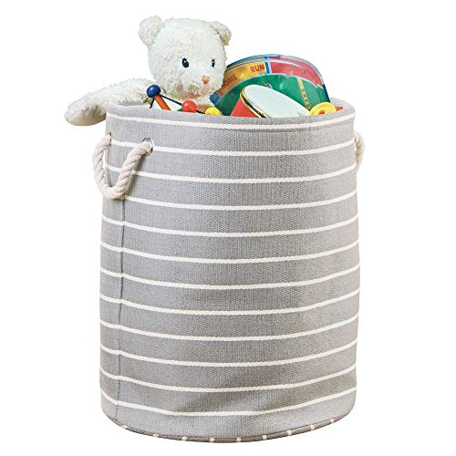 mDesign Decorative Round Soft Fabric Storage Organizer Basket Bin, Rope Handles - for Kid, Toddler, Baby Room, Nursery, Playroom, Toy Room - Folds Flat for Compact Storage, Large - Gray/Cream -
