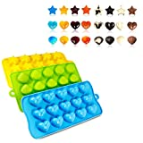 Silicone Chocolate Candy Molds Ice Cube Trays-Hearts, Stars & Shells, Fun, for Soft Candy, Jelly, Children's Toy Set (3 Pack)