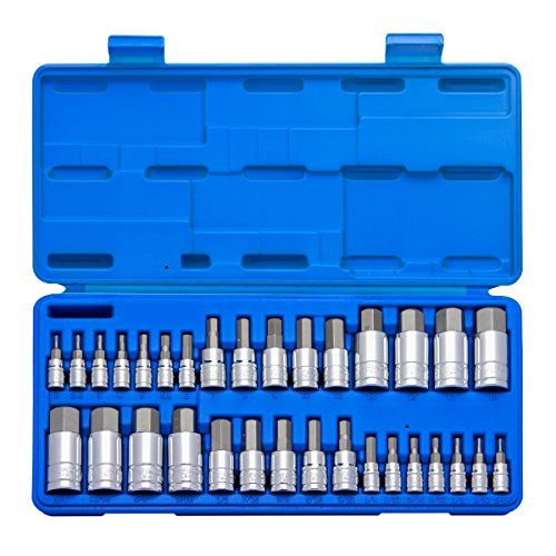 Neiko 10288A Master Hex Bit Socket Set, S2 Steel | 32-Piece Set | SAE and (10mm Hex Bit Socket)