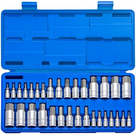 "Neiko 10288A Master Hex Bit Socket Set, 32 Piece | S2 Steel Machined Bits | Standard SAE and Metric Sized Sockets | 1/4"", 3/8"", & 1/2"" Drives"