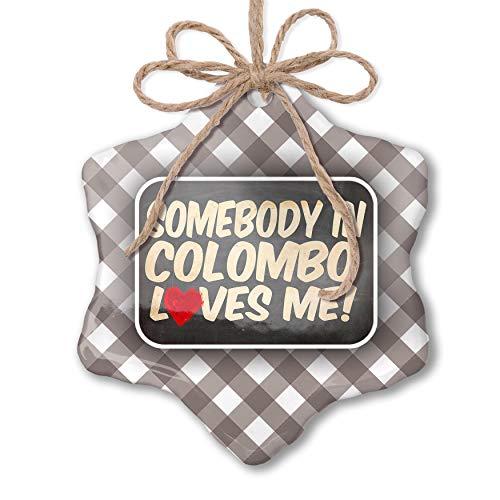 NEONBLOND Christmas Ornament Somebody in Colombo Loves me, Sri Lanka Grey White Black Plaid