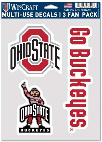 One Size Team Colors WinCraft NCAA Ohio State Buckeyes Decal Multi Use Fan 3 Pack