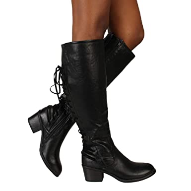607b97f8e8f59 WuyiMC Clearance Women's Leather Knee High Flat Boots Lace Up Distressed  Sexy Drawstring Tall Western Riding Boots