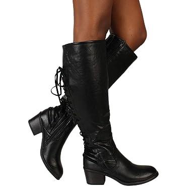 3d5f45a24d86b Damen Lange Röhre Stiefel SHOBDW Frauen Winter Mode Elegant Zurück Kreuz  Schnür Kurz-Stöckelschuhe Klassisch