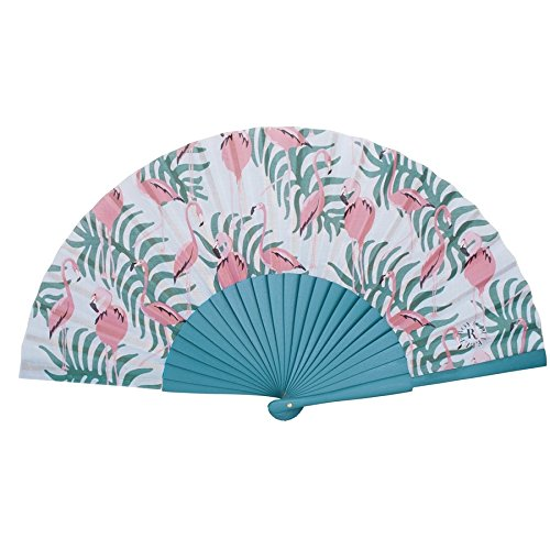 FLAMINGO BLUE HAND-FAN BY DUVELLEROY 1827 made in France La Perfection Louis