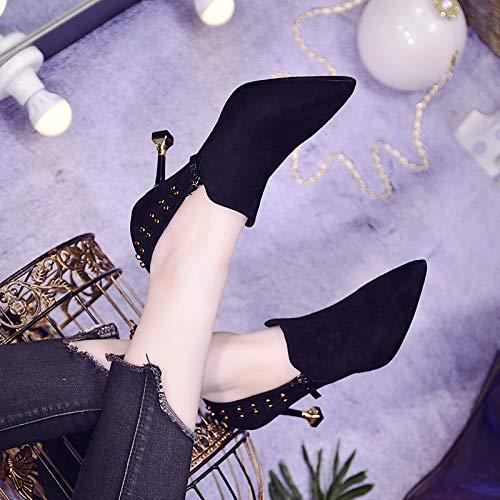 Primavera Donne 7cm Black Alto Tacco Serie In Da I Solo Appuntito Bocca Sexy Di Gtvernh Cat Tacchi Col Le Bene Rivetti scarpe Scarpe Donna Moda 100 pvnxqIw4