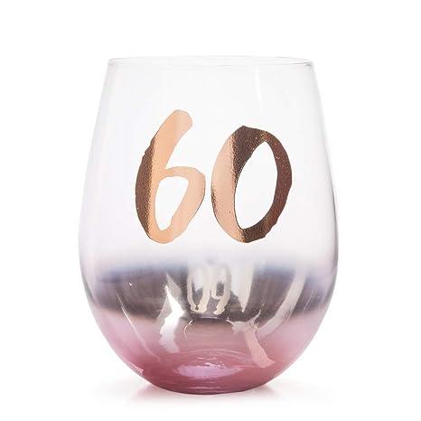 Vaso de cristal sin tallo para 60 cumpleaños.: Amazon.es: Hogar