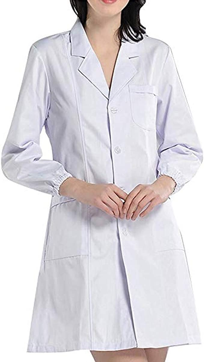 Luckycat Bata de Laboratorio Enfermera Sanitaria de Trabajo Blanca con Manga Larga para Unisex Bata de Médico Laboratorio Enfermera Sanitaria Algodón Mujer Hombre Camisa de Trabajo Blanca: Amazon.es: Ropa y accesorios