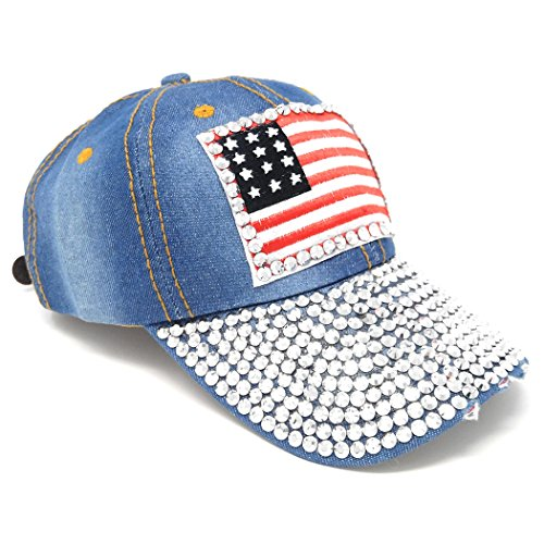Light Washed Denim USA Studded Baseball Hat, Adjustable American Flag Fabric - Flag Studded