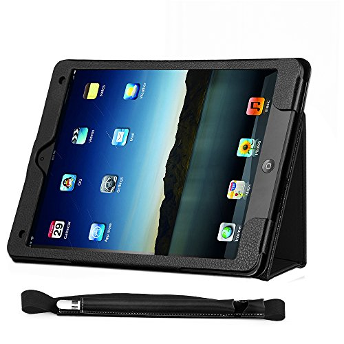 COCASES Case for iPad Pro 9.7 2016, iPad 9.7 2017, iPad Air, iPad 6th Gen 2018, PU Leather Flip Stand Smart Cover Auto Sleep/Wake Pencil Holder Hand Strap Card Slot Document Pocket Black 9.7'' by COCASES (Image #2)