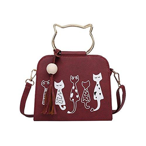 baonmy PU de la mujer gato Prick Ear Casual bolsa de hombro Lovely bolso para las niñas, gris rojo
