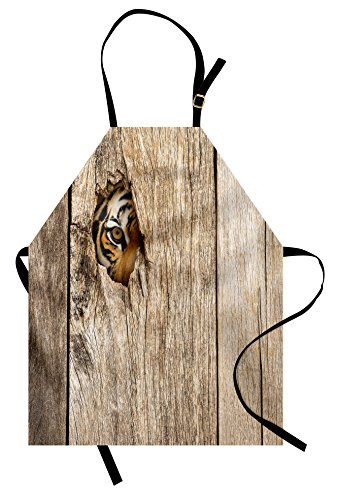 Ambesonne Safari Apron, Siberian Tiger Eye Looking Through Wooden Peep Hole in Spy Predator Big Cat Wild Print, Unisex Kitchen Bib with Adjustable Neck for Cooking Gardening, Adult Size, Cream Brown]()
