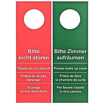 Hôtel Lot de 50 Plaque de porte Ne pas déranger – de faire la Chambre  Rouge/Vert (Grand modèle – 28 cm de longueur)
