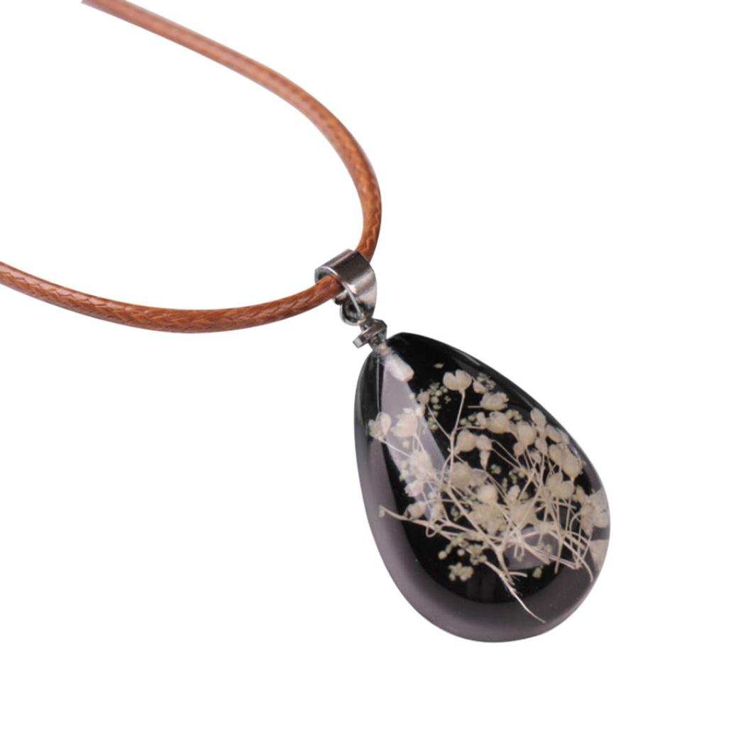 Exteren Luminous Dried Flower Teardrop Pendant Plated Wire Wrap Charm Necklace Chain Jewelry for Women (D)