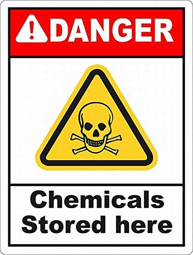 ここに保管されている化学物質 金属板ブリキ看板注意サイン情報サイン金属安全サイン警告サイン表示パネル