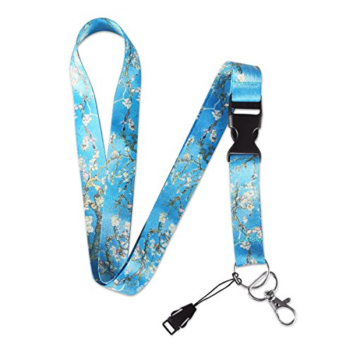 MELIFE Van Gogh Almond Blossoms Premium Lanyard, Detachable Neck Strap with Snap Buckle and Metal Clasp