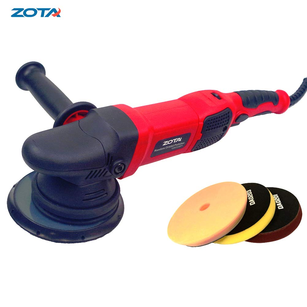 ZOTA Polisher, 21mm Long-Throw Upgraded Random Orbital Polisher,6.5'' Dual Action Car Buffer kit with 3 Professional Pad and 13' Cord