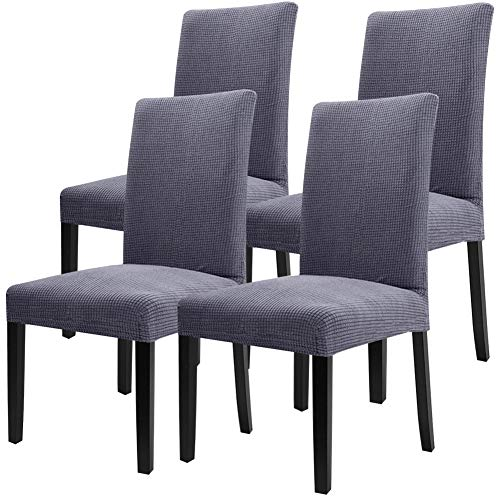 Fuloon Super Fit Stretch Removable Washable Short Dining Chair Protector Cover Seat Slipcover for Hotel,Dining Room,Ceremony,Banquet Wedding Party (4 per Set, GG)