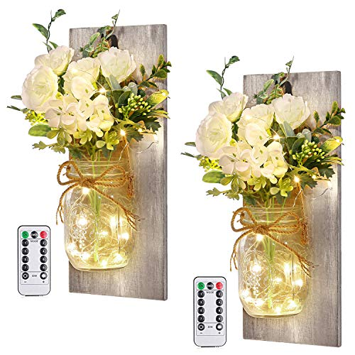 Wall Decor Mason Jar Sconces – Home Decor Wall Art Hanging Design with Remote Control LED Fairy Lights and White Rose…