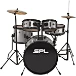 Sound Percussion Labs Kicker Pro - 5 Piece Drum Set with Stands, Cymbals, and Throne Silver Metallic Glitter 1