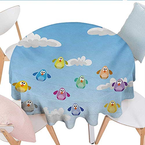 Chenbao Nursery, Table Cloths, Flock of Colorful Birds Sitting on Wires Fluffy Clouds Blue Sky Urban Cartoon, Dinning Tabletop Decoration, (Round, 54 Inch, Blue -