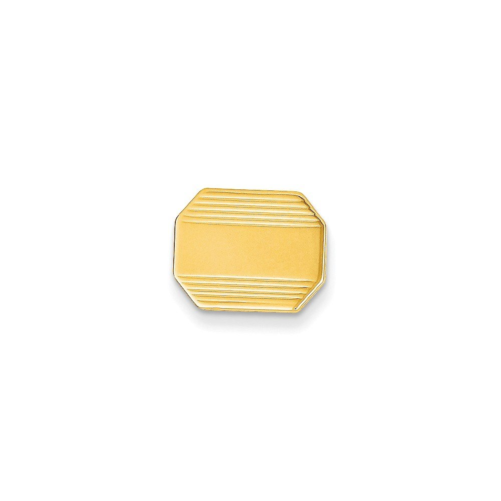 14k Yellow Gold Elongaed Octagonal Tie Tac with Detailed Edges