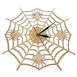 llsmting Wall Clocks for Living Room Cob Web in Natural Wood Halloween Nightmare Creepy Spider Wooden Onyx Man Cave Bedroom Kitchen Office Hotel Bar Decoration Gift