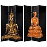 Double Sided Thai Buddha Room Divider with Black Background