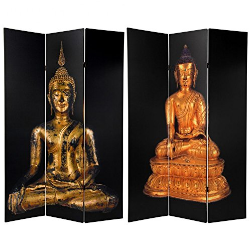 Double Sided Thai Buddha Room Divider with Black Background by ORIENTAL FURNITURE
