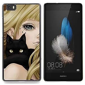 "Planetar ( Animado de la muchacha del gato Rubio Negro Ojos amarillos de dibujo"" ) Huawei Ascend P8 Lite (Not for Normal P8) Fundas Cover Cubre Hard Case Cover"