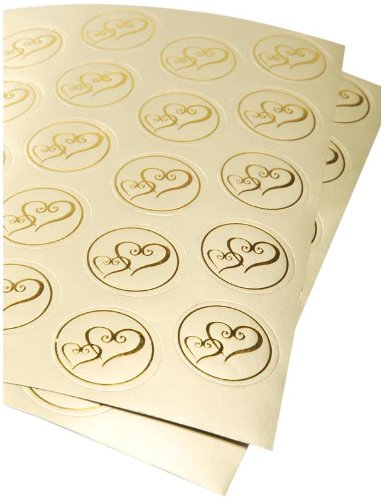 Darice VL3470, Foil Double Heart Round Envelope Seal, 50-Piece, 2-Sheets, Gold