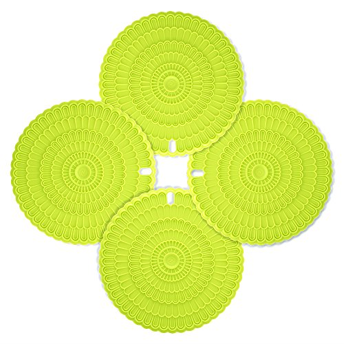 Zanmini Silicone Hot Pad Food Safe Place Mat Set Of 4 Green