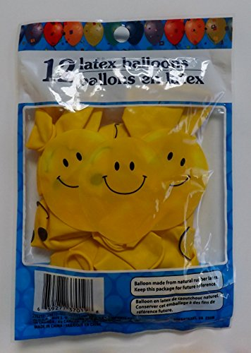 Smiley Face Latex Balloons - Pack of 12 -