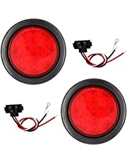 PEAKTOW PTL0401 Round Red 4 Inches LED Submersible Stop/Turn/Tail Lights Including Grommets and Plugs Pack of 2