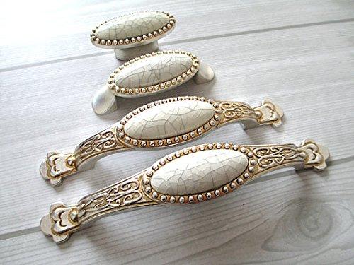 Dresser Knob Drawer Pull Antique Silver Crackle Porcelain Kitchen Cabinet Door Handle Furniture Hardware (96mm) (Antique Porcelain Crackle White)