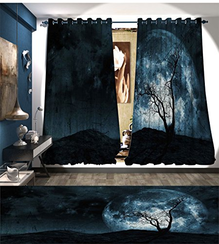 Fantasy Waterproof Window Curtain Night Moon Sky with Tree Silhouette Gothic Halloween Colors Scary Artsy Background Blackout Draperies For Bedroom Slate Blue