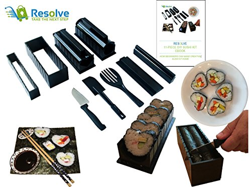DIY Sushi Making Kit (10 Pieces) by Resolve | At Home Japanese Sushi Roll Maker Set for Beginners | 5 Unique Mold Shapes with Convenient Cutting Guide, Spatula and Rice Fork | Free eBook